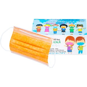 Set masti de protectie pentru copii MACRATEX, 3 straturi, 30 bucati, portocaliu
