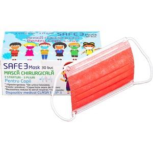Set masti de protectie pentru copii MACRATEX, 3 straturi, 30 bucati, rosu