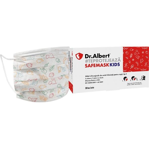Masti de protectie pentru copii DR ALBERT FMK-1405, 3 straturi, 30 bucati, alb