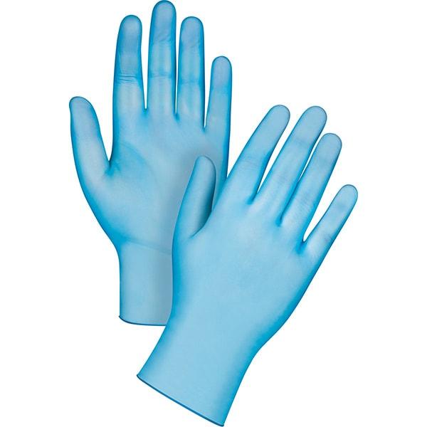 Manusi de unica folosinta GOLDGLOVE Blue Powdered, vinil, marimea L, 100 buc