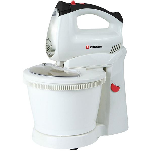 Mixer cu bol ZOKURA Z1043, 2.5l, 400W, 5 trepte viteza, alb-negru