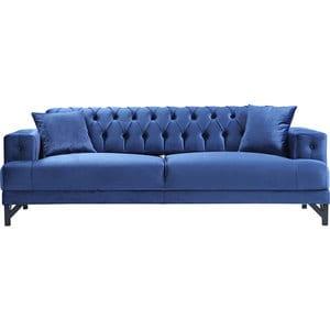 Canapea fixa Bianca, 3 locuri, 223 x 93 x 78 cm, bleumarin