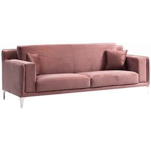 Canapea fixa Snow2, 3 locuri, 240 x 96 x 79 cm, roz comb