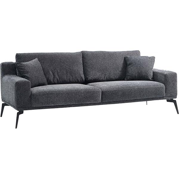 Canapea fixa Cecile 2, 3 locuri, 220 x 106 x 80 cm, grej comb