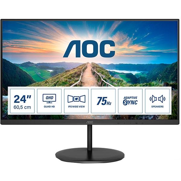"Monitor LED IPS AOC Q24V4EA, 23.8"" Quad HD, 75Hz, AdaptiveSync, Flicker Free, negru"
