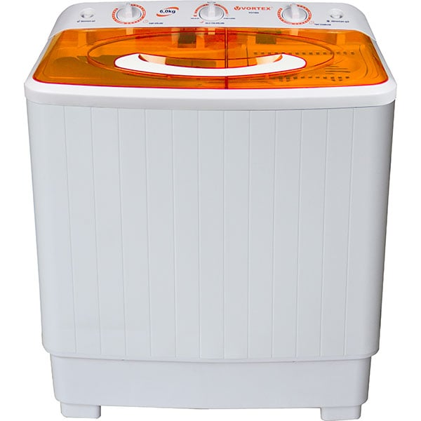 Masina de spalat rufe semiautomata VORTEX VO1500, 6 kg, 1300rpm, alb-portocaliu