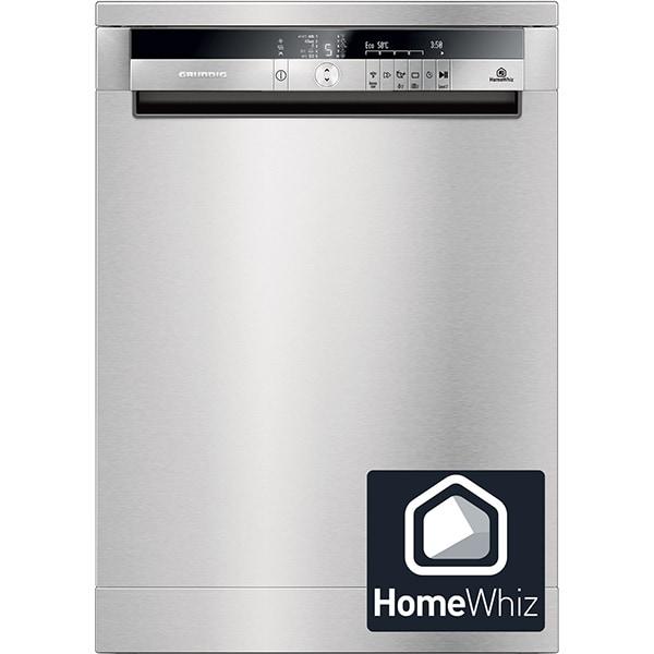Masina de spalat vase independenta GRUNDIG GNF51032XH, HomeWhiz, Wi-Fi, 15 seturi, 10 programe,  60 cm, clasa A+++, inox