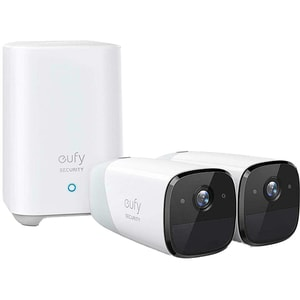 Kit supraveghere video eufyCam 2 Security T88413D2, 2 camere, HD 1080p, Wi-Fi, Waterproof, 16 canale, alb