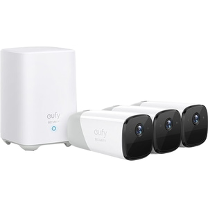 Kit supraveghere video eufyCam 2 Security wireless T88423D2, 3 camere, HD 1080p, Waterproof, 16 canale, alb