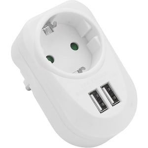 Adaptor de priza MYRIA MY2338, 2 x USB, alb
