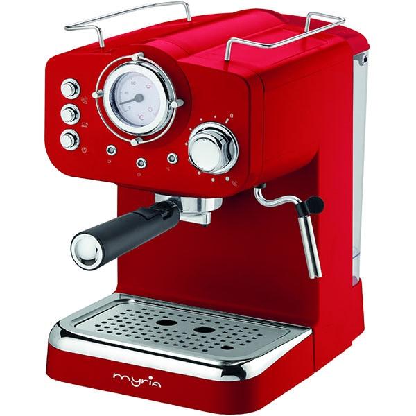 Espressor manual MYRIA MY4052, 1.25l, 1100W, 15 bar, rosu-argintiu