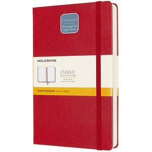 Carnet notite MOLESKINE Expanded Ruled Hard Notebook, dictando, Large, 200 file, rosu stacojiu