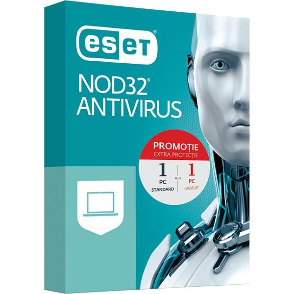 Antivirus ESET NOD32, 1 an, 1 PC + 1 PC Gratuit, Box