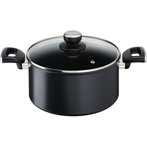 Cratita cu capac TEFAL Unlimited G2554672, 5.2l, 24cm, aluminiu, negru