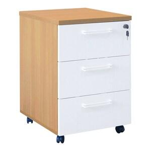 Dulap birou RTC, 52 x 44 x 67 cm, PAL, 3 sertare, stejar ferrara-alb