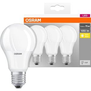 Set 3 becuri LED OSRAM A75, E27, 10W, lumina calda