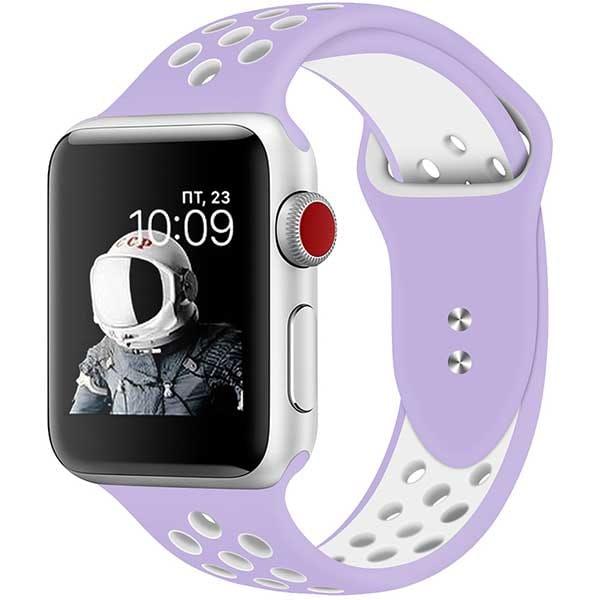 Bratara pentru Apple Watch 38mm/40mm, PROMATE Oreo-38ML, silicon, Medium/Large, violet-alb