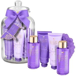 Set cadou THE LUXURY BATHING COMPANY Sleeping Beauty: Crema de corp, 50ml + Crema de maini, 50ml + Spuma de baie, 100ml + Gel de dus, 100ml + Burete