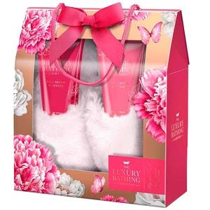 Set cadou THE LUXURY BATHING COMPANY Floral Footed: Crema pentru picioare, 150ml + Gel dus, 150ml + Papuci