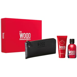 Set cadou DSQUARED2 Red Wood: Apa de toaleta, 100ml + Gel de dus, 100ml + Portfard