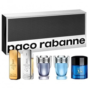Set cadou PACO RABANNE: Apa de toaleta 1 Million, 5ml + Apa de toaleta 1 Million Lucky, 5ml + Apa de toaleta Invictus, 5ml + Apa de toaleta Invictus Aqua, 5ml + Apa de toaleta Pure XS, 6ml