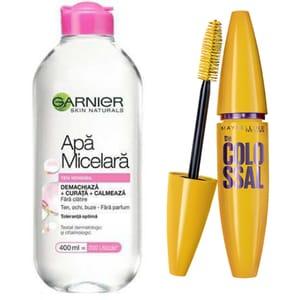 Pachet promo Mascara MAYBELLINE NEW YORK The Colossal volum colosal, Black, 10.7ml + Apa micelara Garnier Skin Naturals, 400ml