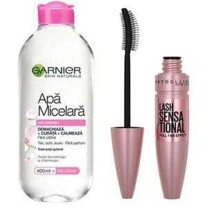 Pachet promo Mascara MAYBELLINE NEW YORK Lash Sensational, Black, 9.5ml + Apa micelara Garnier Sensitive, 400ml