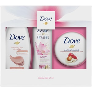 Set cadou DOVE Renewing Glow Trio: Gel de dus Glowing Pink Clay, 250ml + Exfoliant pentru corp Pomegranate&Shea Butter, 225ml + Lapte de corp Lotus&Rice Water, 250ml