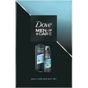 Set cadou DOVE Men+Care Clean Comfort Duo: Gel de dus, 250ml + Deodorant spray antiperspirant, 150ml
