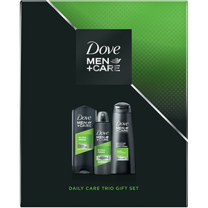 Set cadou DOVE Men+Care Extra Fresh Trio: Gel de dus, 250ml + Sampon, 250ml + Deodorant spray antiperspirant, 150ml