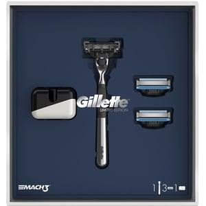 Set cadou GILLETTE Mach 3 Limited Edition: Aparat de ras + Rezerva, 2buc + Suport