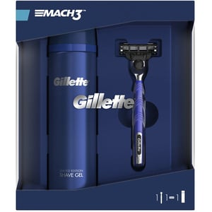 Set cadou GILLETTE Mach 3: Gel de ras, 200ml + Aparat de ras