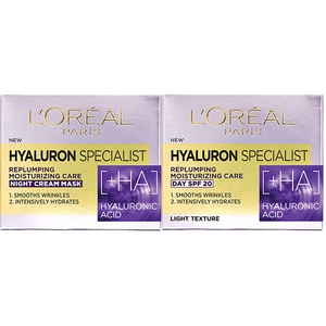 Set L'OREAL PARIS Hyaluron Specialist: Crema de zi, 50ml + Crema de noapte, 50ml