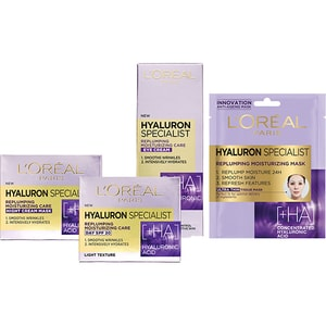 Set L'OREAL PARIS Hyaluron Specialist: Crema de zi, 50ml + Crema de noapte, 50ml + Crema contur pentru ochi, 15ml + Masca de fata, 30g