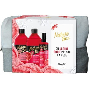 Set cadou NATURE BOX Pomegranate: Sampon, 385ml + Balsam de par Express fara clatire, 200ml + Gel de dus, 385ml