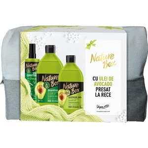 Set cadou NATURE BOX Avocado: Sampon, 385ml + Balsam de par Express fara clatire, 200ml + Gel de dus, 385ml