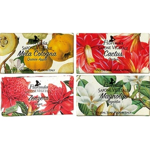 Pachet promo LA DISPENSA Florinda: Sapun cu floare de cactus, 100g + Sapun cu ghimbir,100g + Sapun vegetal cu magnolie, 100g + Sapun cu gutui, 100g