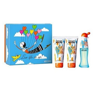 Set cadou MOSCHINO I Love Love: Apa de toaleta, 50ml + Gel de dus, 100ml + Lotiune de corp, 100ml