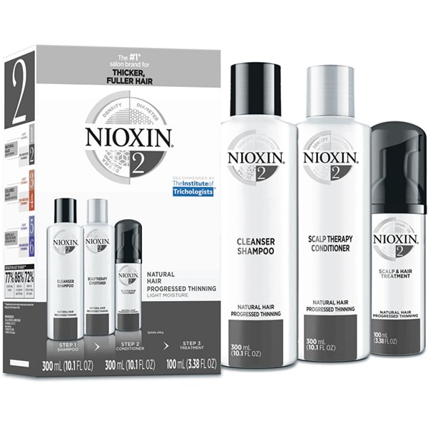 Set NIOXIN No.2: Sampon, 300ml + Balsam de par, 300ml + Tratament pentru par, 100ml