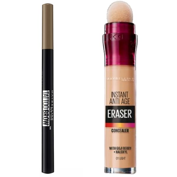 Pachet MAYBELLINE NEW YORK: Corector, 01 Light, 6.8ml + Creion de sprancene