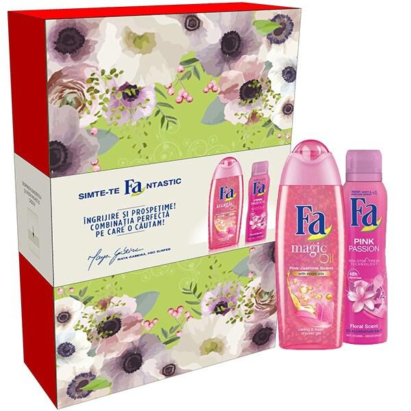 Set cadou FA: Gel de dus Pink Jasmin, 250ml + Deospray Pink Passion, 150ml