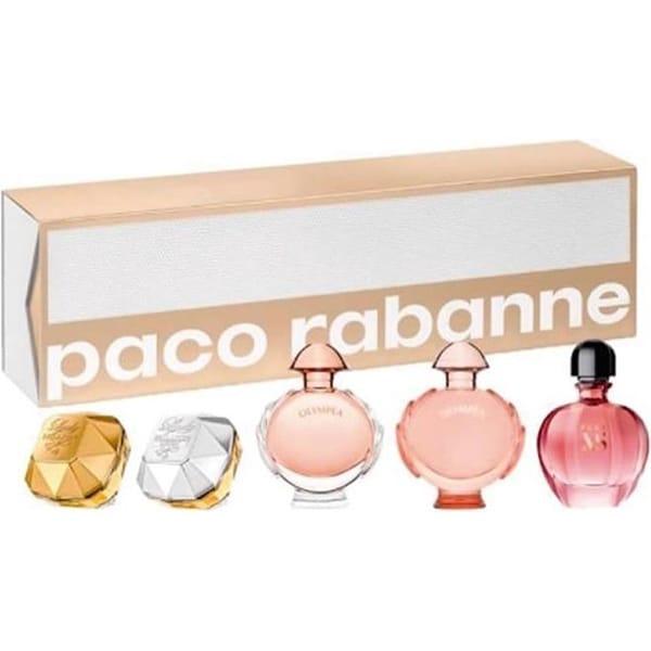 Set cadou PACO RABANNE: Mini apa de parfum Lady Million, 5ml + Mini apa de parfum Lady Million Lucky, 5ml + Mini apa de parfum Olympea, 6ml + Mini apa de parfum Olympea Legend, 6ml + Mini apa de parfum Pure XS for Her, 6ml
