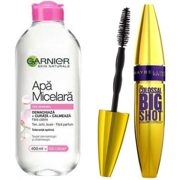 Pachet promo Mascara MAYBELLINE NEW YORK Colossal Big Shot, Black, 9.5ml + Apa micelara Garnier Sensitive, 400ml