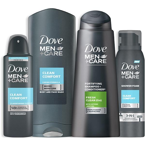 Set ingrijire DOVE Men+ Care: Sampon Clean Fresh, 400ml + Gel de dus Clean Comfort, 400ml + Spuma de dus Clean Comfort, 200ml + Antiperspirant spray Clean Comfort, 150ml