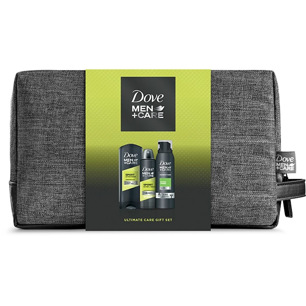 Set cadou DOVE Men+Care Sport Active+Fresh: Gel de dus Men+Care Sport Active+Fresh, 250ml + Spuma de dus Men+Care Extra Fresh, 200ml + Spray antiperspirant Men+Care Sport Active+Fresh, 150ml