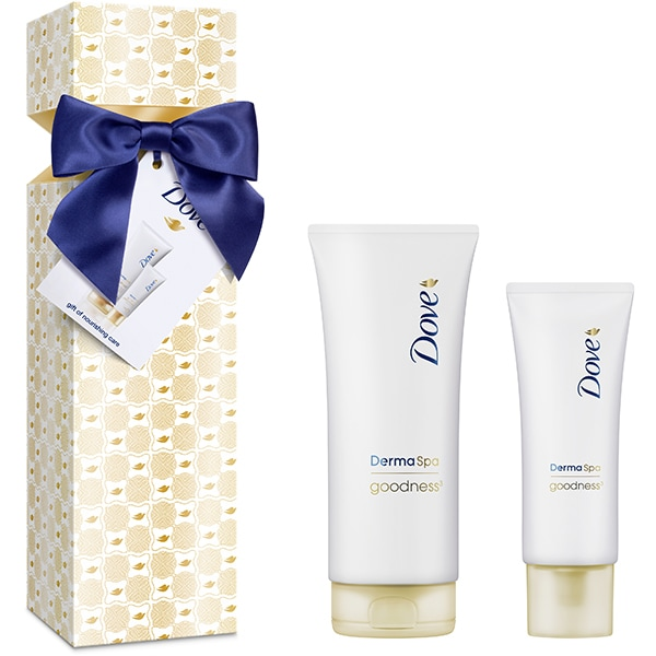 Set cadou DOVE DermaSpa Goodness3 Collection: Lotiune de corp, 200ml + Crema de maini, 75ml