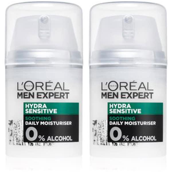 Set L'OREAL PARIS Men Expert Hydra Sensitive: Crema de zi, 2buc, 50ml