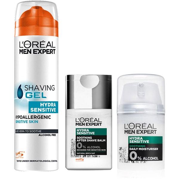Set L'OREAL PARIS Men Expert: Gel de ras, 200ml + After Shave, 125ml + Crema de zi, 50ml