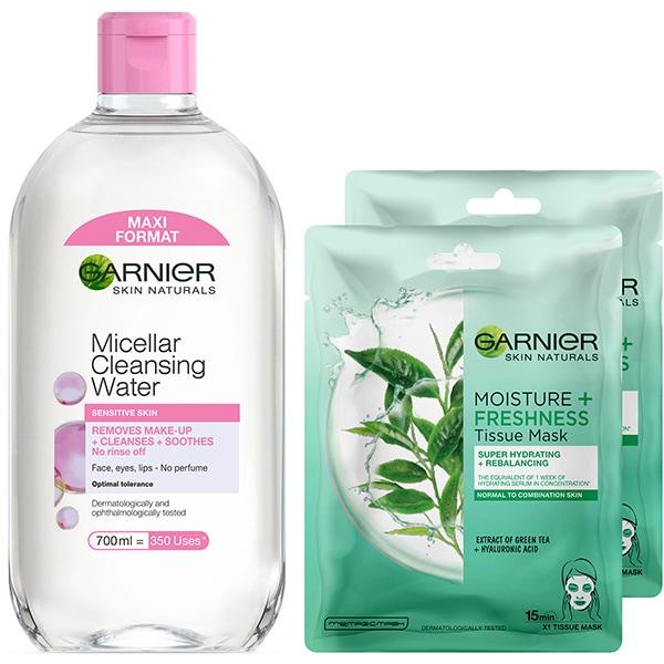 Set GARNIER Skin Naturals: Apa micelara pentru ten sensibil, 400ml + Masca de fata cu ceai verde, 2buc, 32g