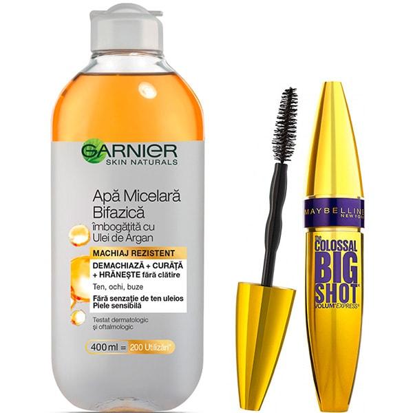 Set MAYBELLINE NEW YORK: Mascara Colossal Big Shot, Black, 9.5ml + Apa micelara bifazica cu ulei de argan GARNIER Skin Naturals, 400ml